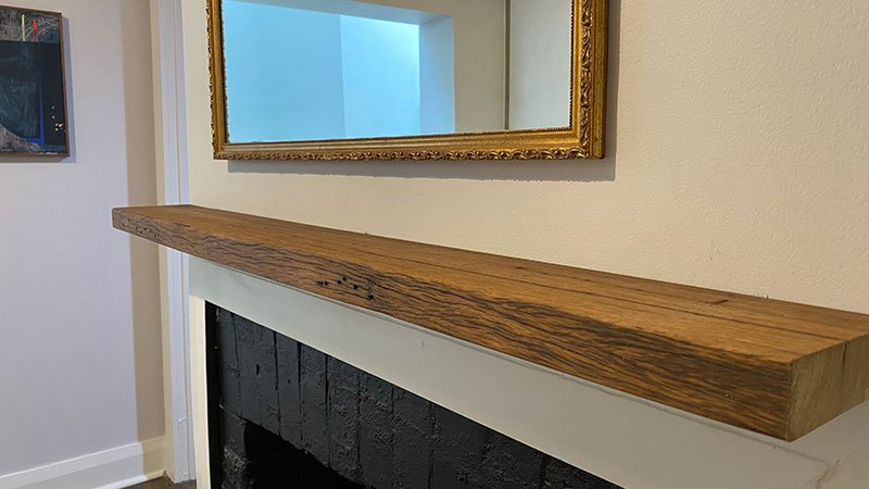 Rustic fireplace mantle