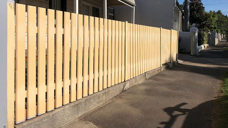 Bevelled edged picket fence
