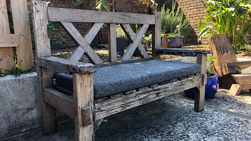 Reclaimed hardwood bench