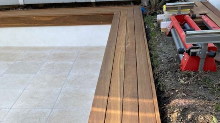 Spotted gum garden benching with detailed corners
